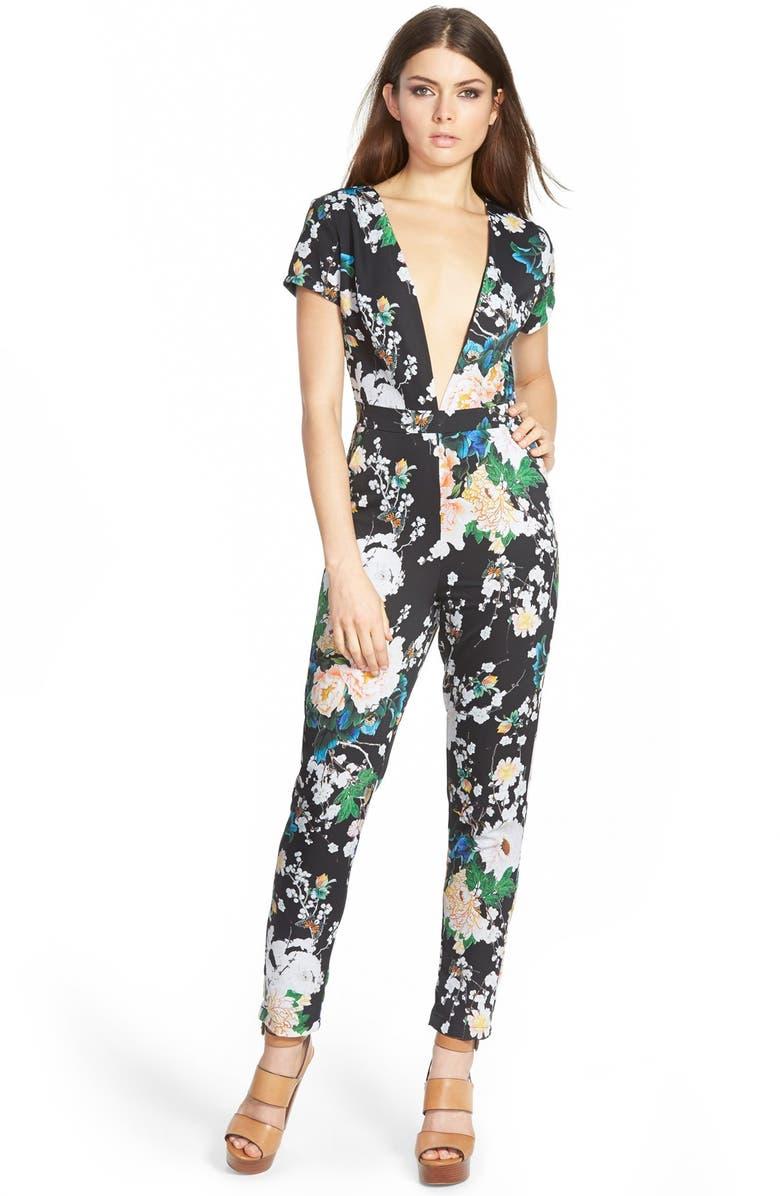MISSGUIDED Floral Plunge Jumpsuit, Main, color, 001