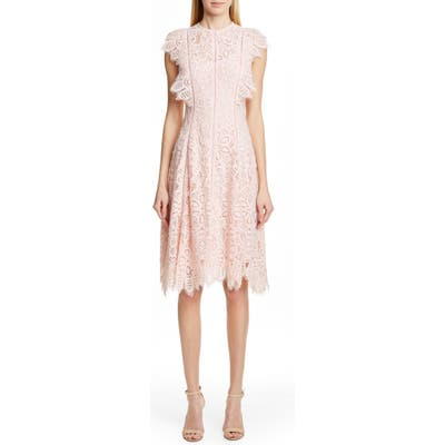 Lela Rose Flutter Sleeve Lace Dress, Pink