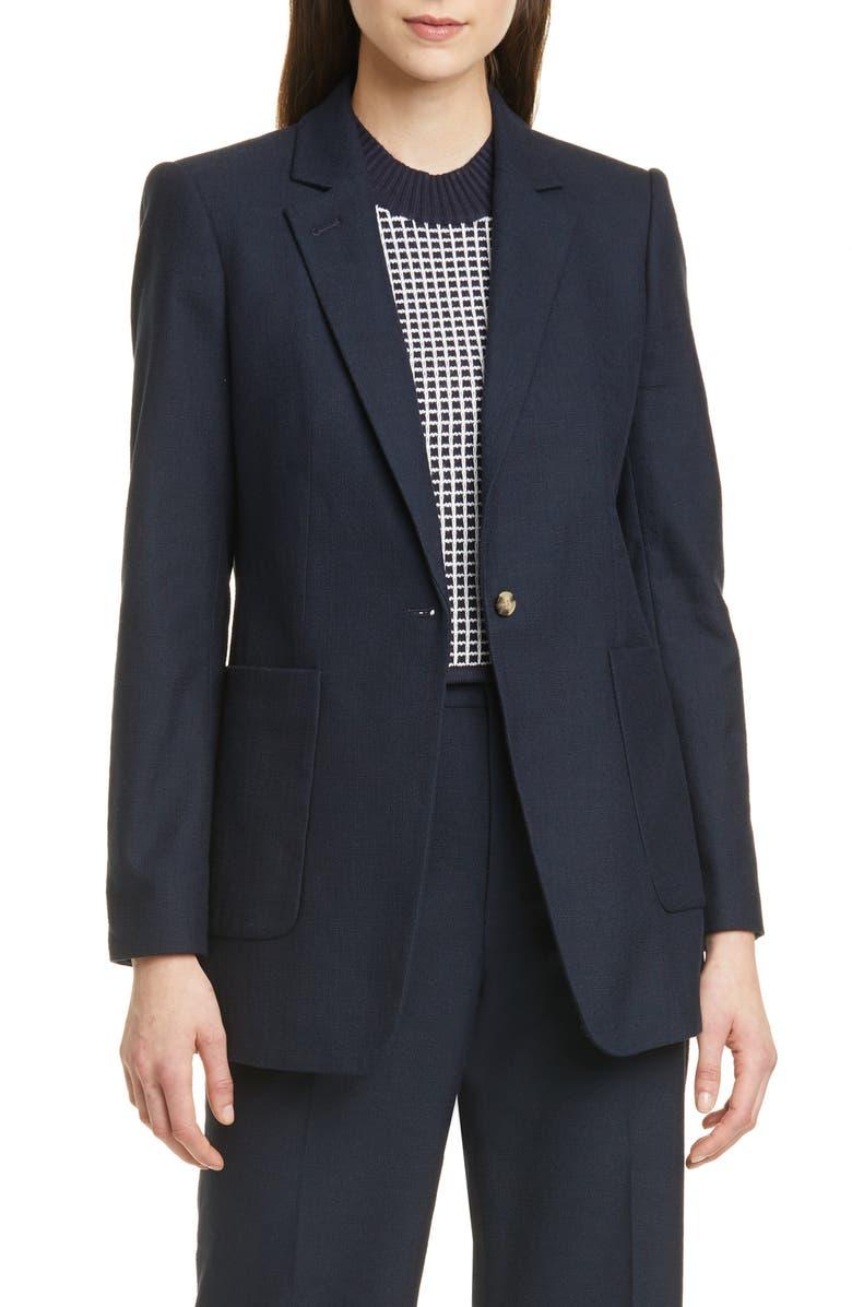 CLUB MONACO Textured Cotton Blend Jacket, Main, color, 410