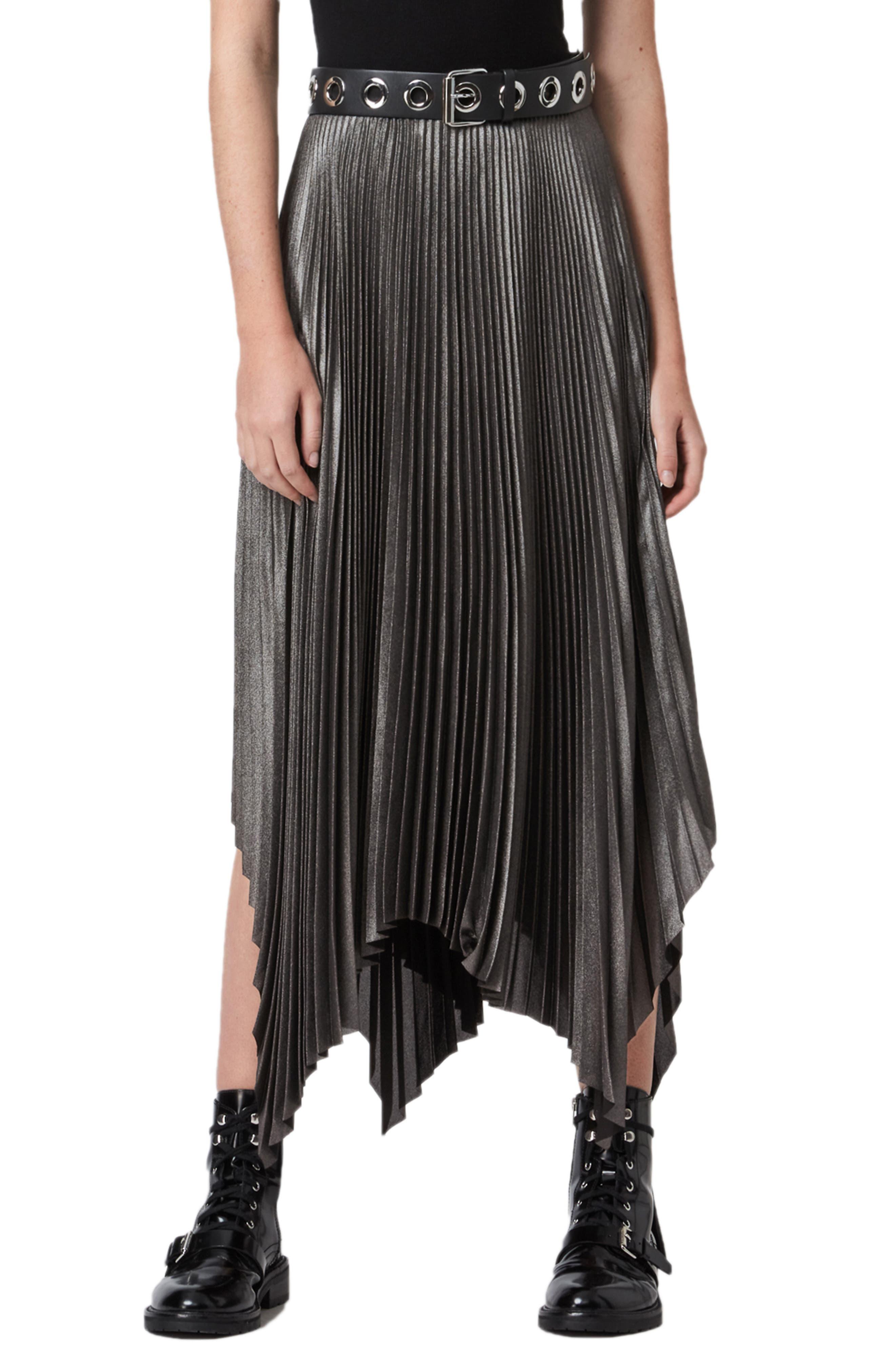 ALLSAINTS Jas Shimmer Pleated High/Low Skirt | Nordstrom