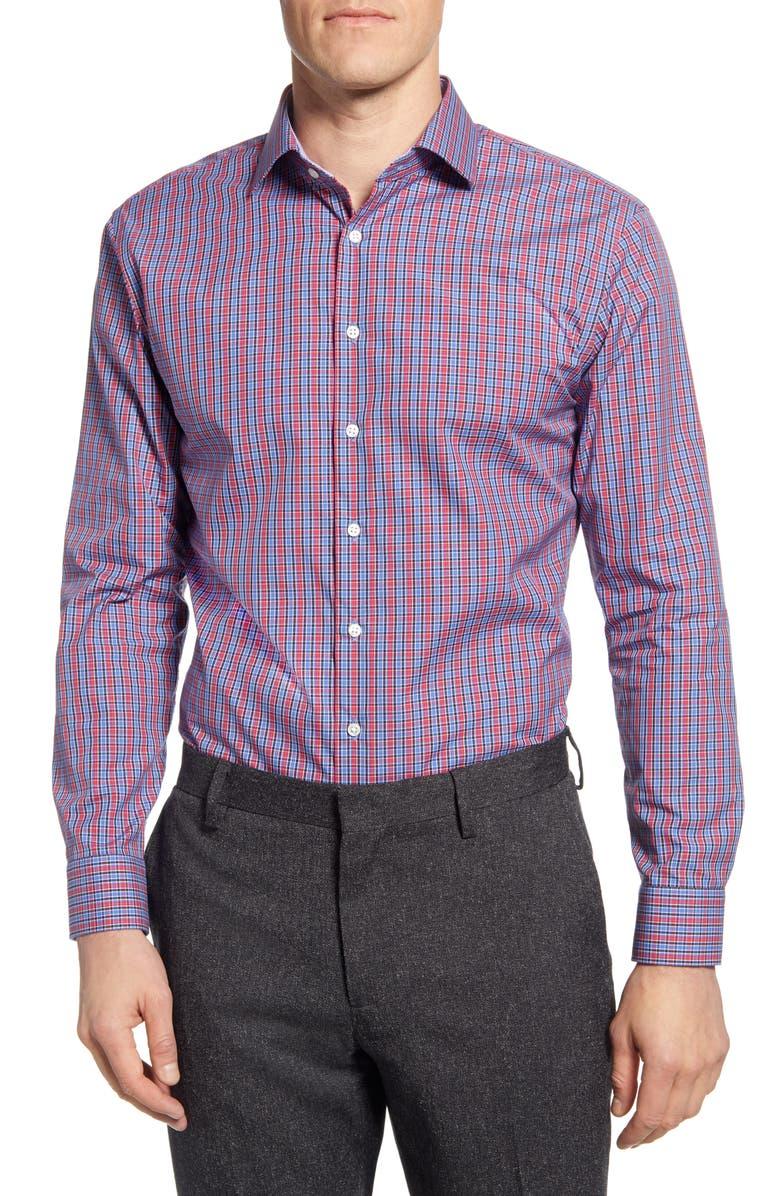 NORDSTROM MEN'S SHOP Trim Fit Non-Iron Check Dress Shirt, Main, color, 610