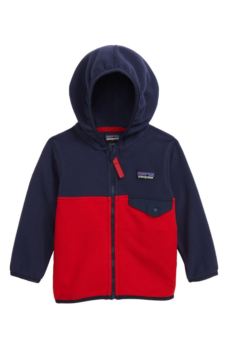PATAGONIA Micro D<sup>®</sup> Snap-T<sup>®</sup> Fleece Jacket, Main, color, FRNE FIRE W/ NEW NAVY