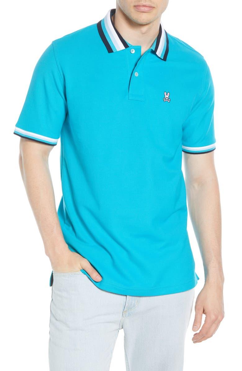 PSYCHO BUNNY Coniston Tipped Piqué Polo, Main, color, BLUEBIRD