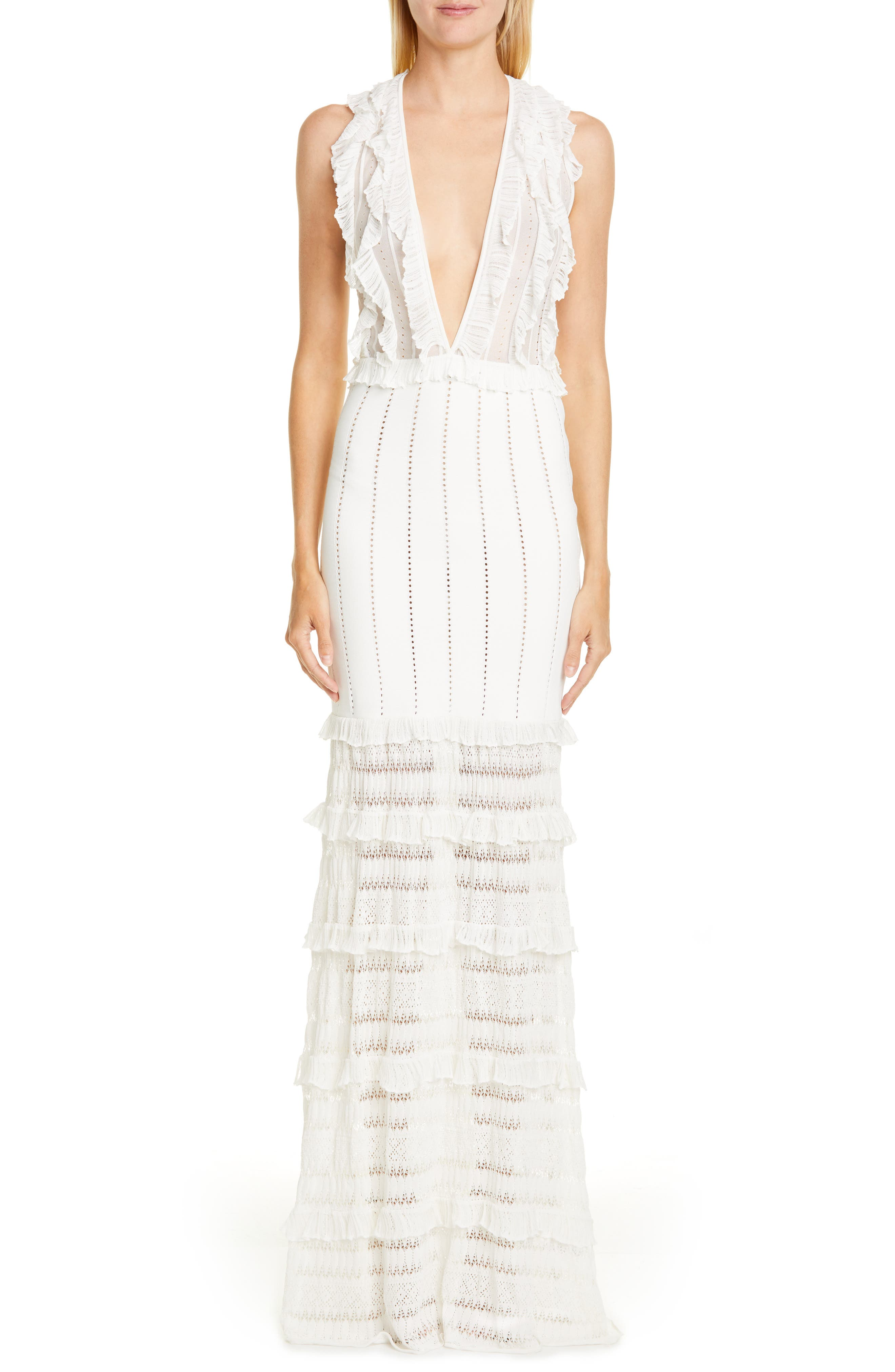 Zuhair Murad Chrysalis Plunge Neck Tiered Knit Gown, 6 FR - White