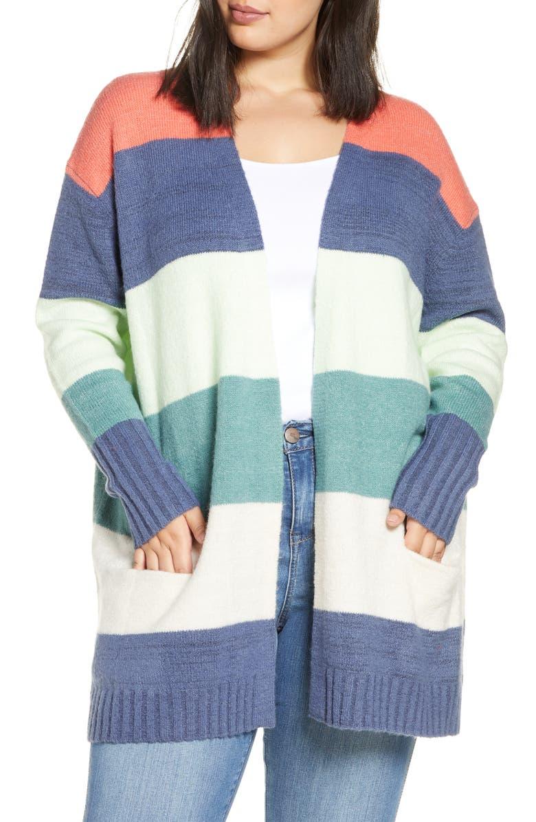 CASLON<SUP>®</SUP> Stripe Cardigan, Main, color, CORAL MULTI TARA STP