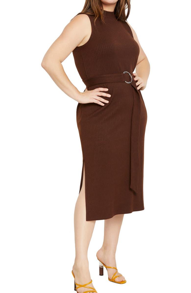 ELOQUII Ribbed Belted Sleeveless Midi Dress, Main, color, CHOCOLATE
