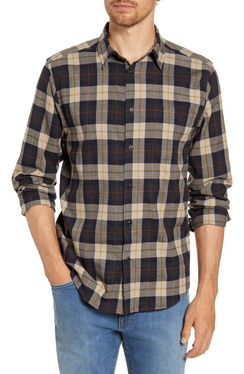 AGAVE Hartley Plaid Twill Button-Up Shirt, Main, color, GRAY PLAID