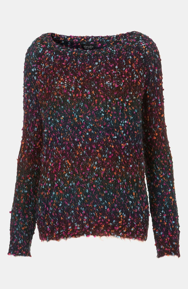 TOPSHOP Rainbow Bouclé Sweater, Main, color, 001
