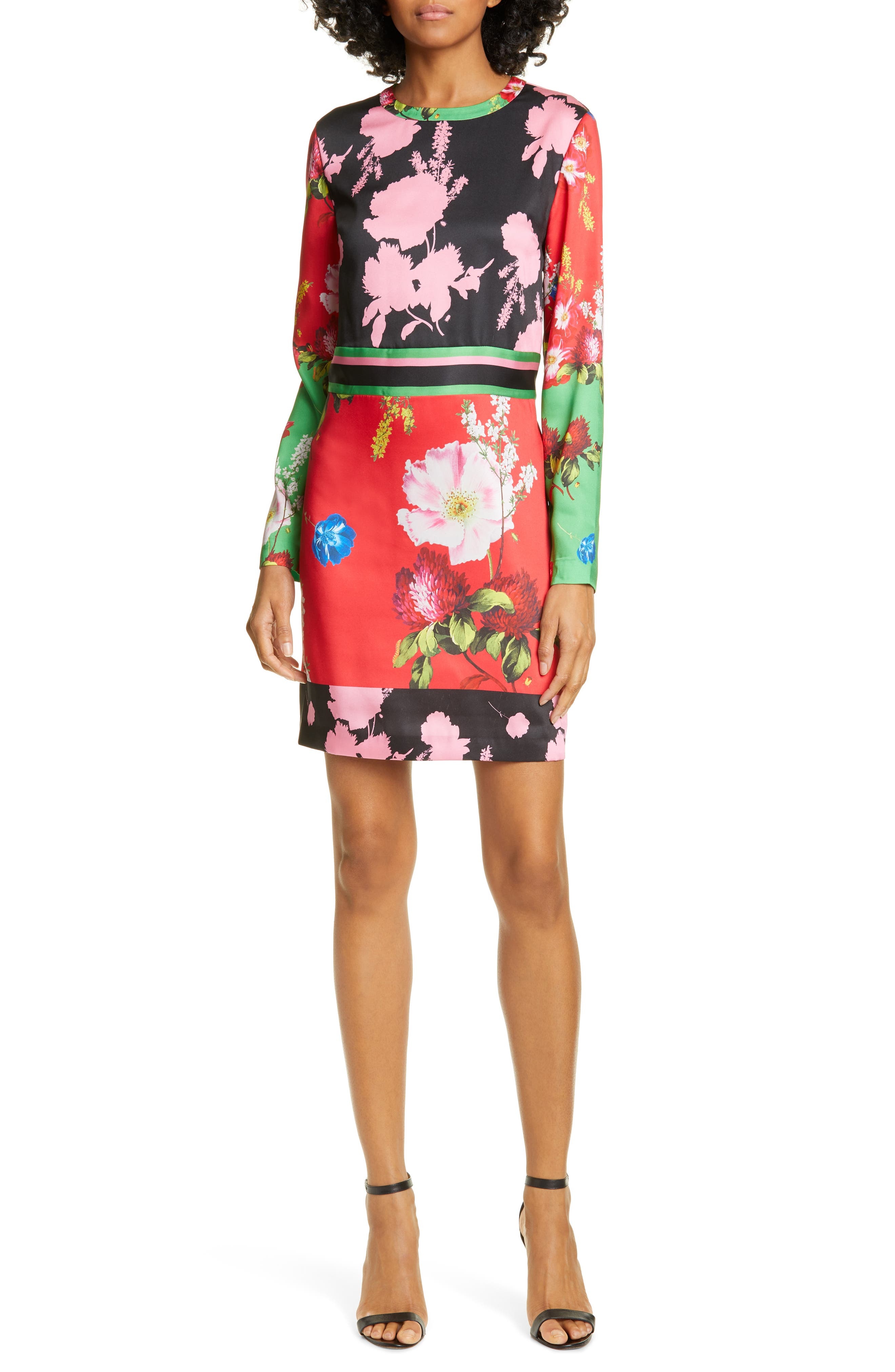 Ted Baker London Yanna Floral Long Sleeve Dress, Red