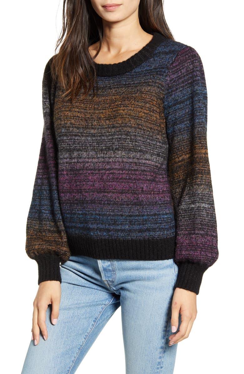 RAILS Hailey Rainbow Stripe Wool & Mohair Sweater, Main, color, 002