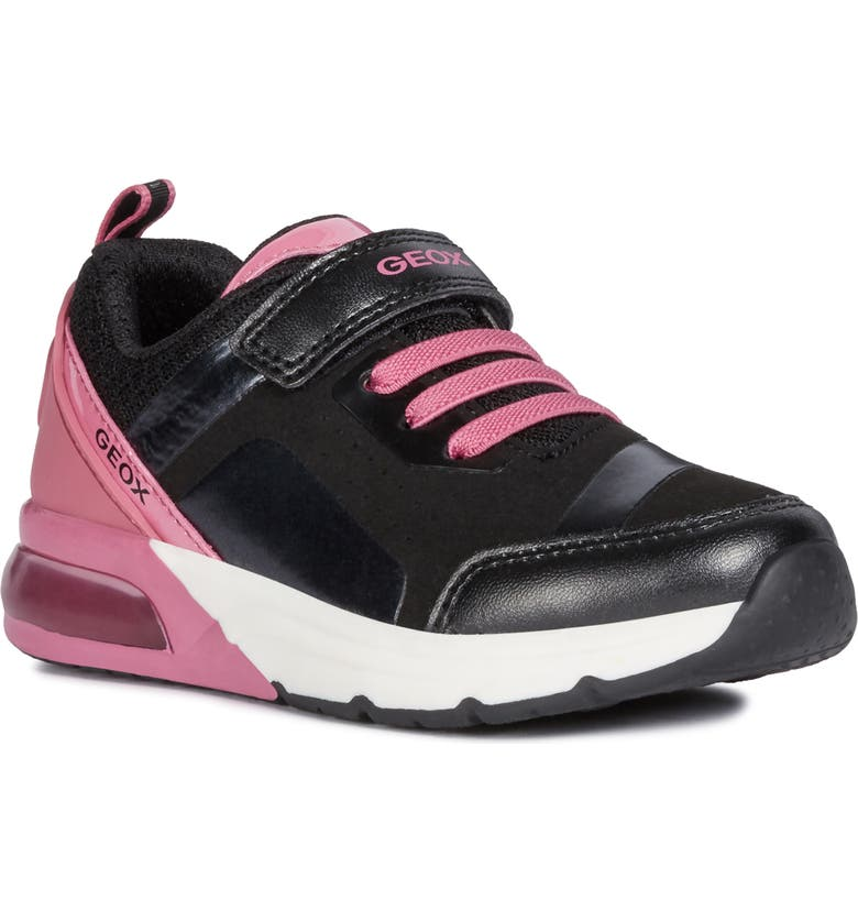 GEOX Spaceclub Light-Up Sneaker, Main, color, BLACK/ FUCHSIA