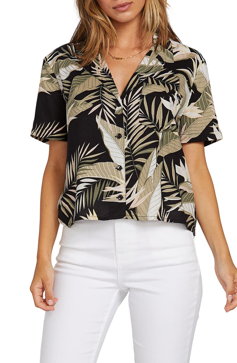 VOLCOM Gen Wow Leopard Print Shirt, Main, color, 001