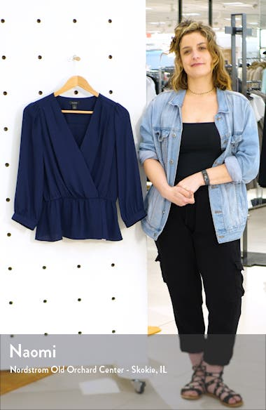 Wrap Front Peplum Top, sales video thumbnail