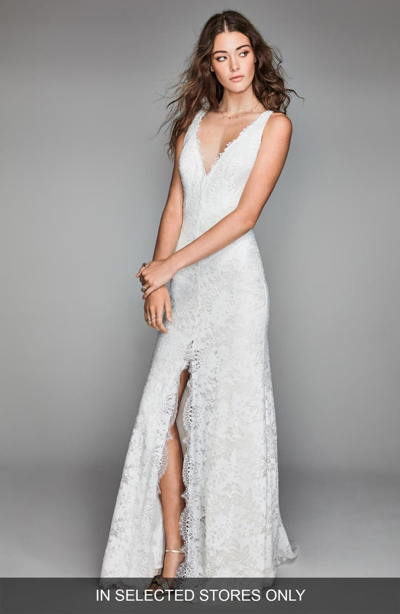WILLOWBY Libra Lace Sheath Gown, Main, color, IVORY/ OYSTER