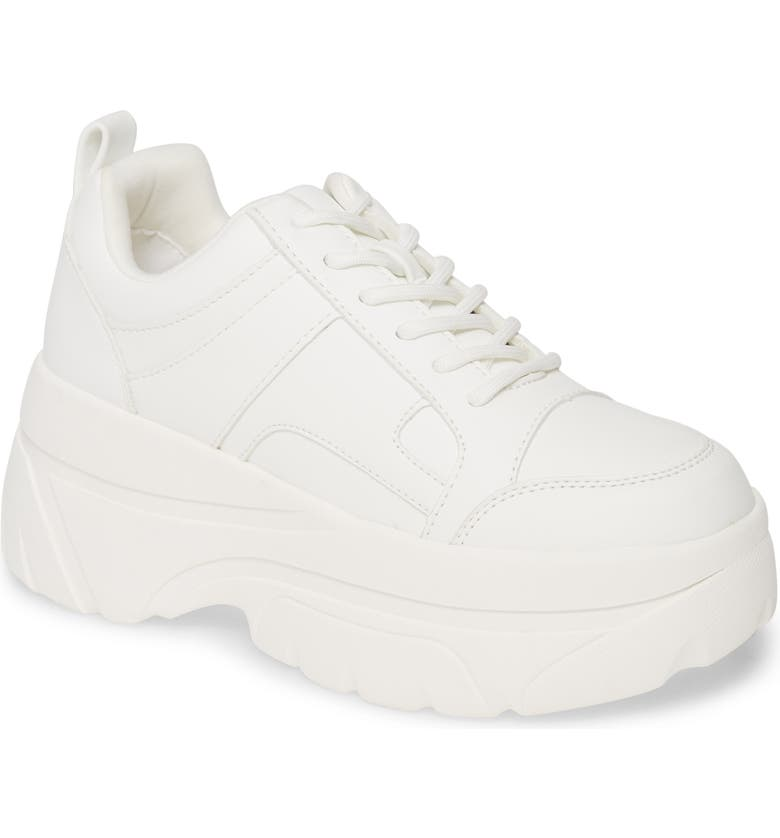 TOPSHOP Cali Platform Sneaker, Main, color, WHITE