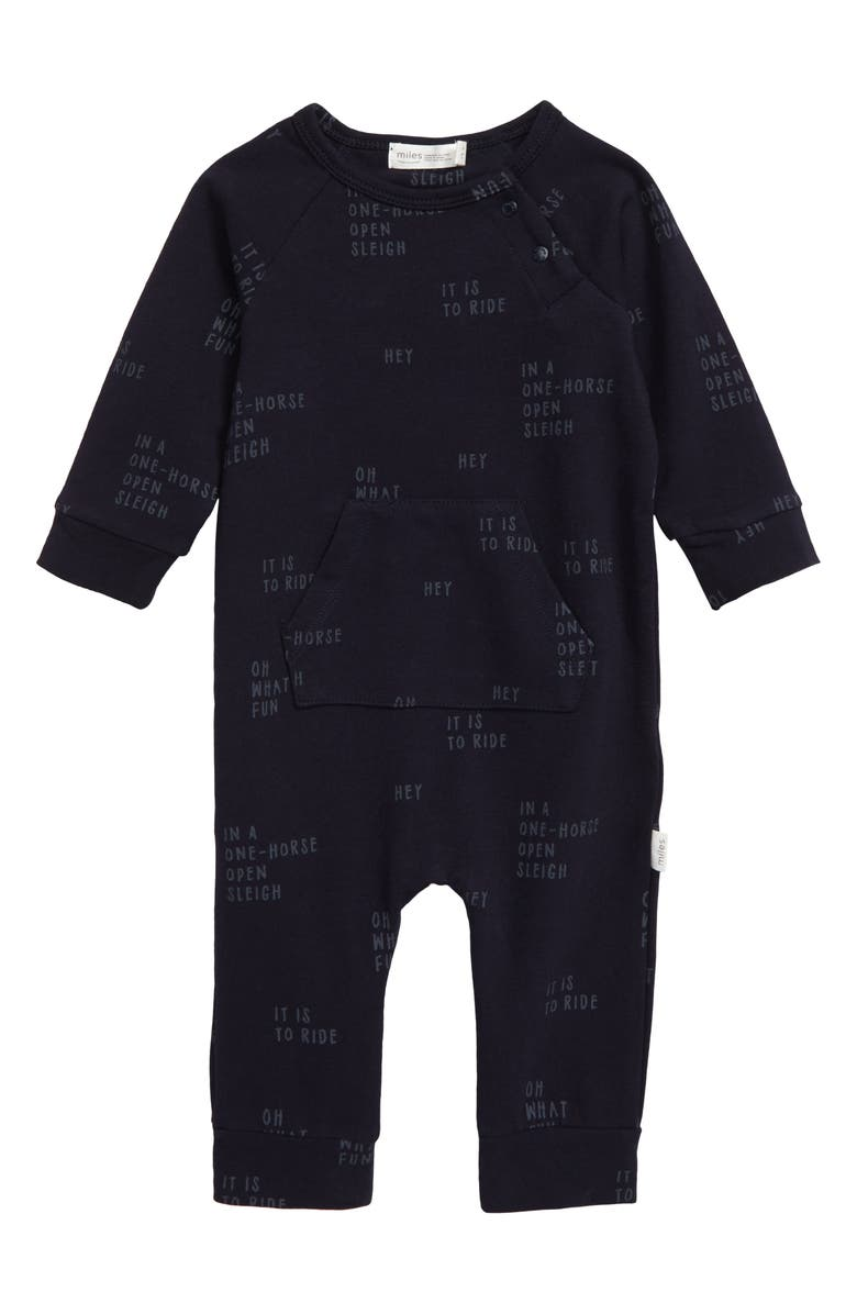 MILES BABY Graphic Romper, Main, color, NAVY