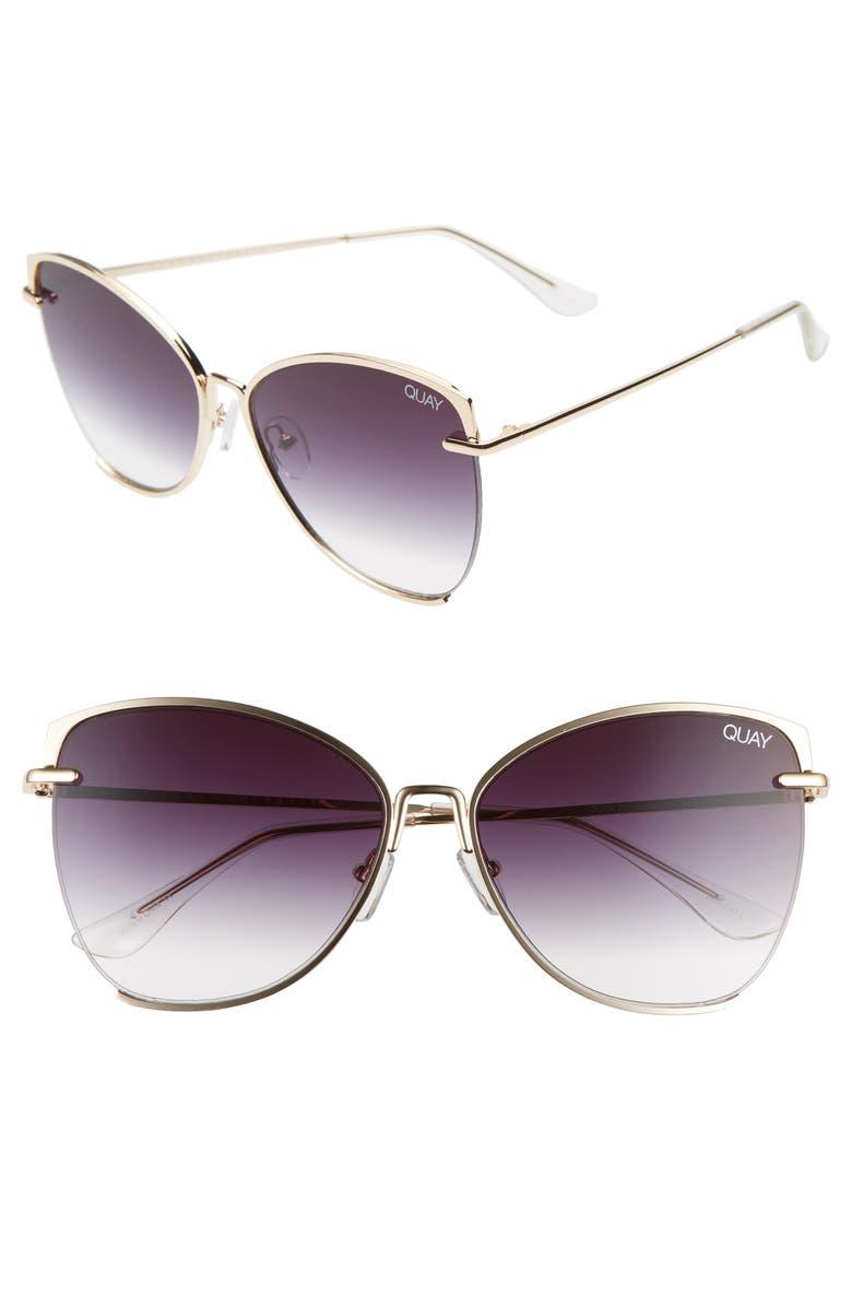 QUAY AUSTRALIA Dusk to Dawn 60mm Sunglasses, Main, color, GOLD/ SMOKE