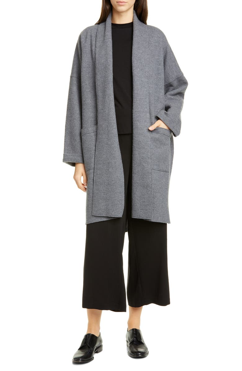 EILEEN FISHER Shawl Collar Long Wool Jacket, Main, color, ASH