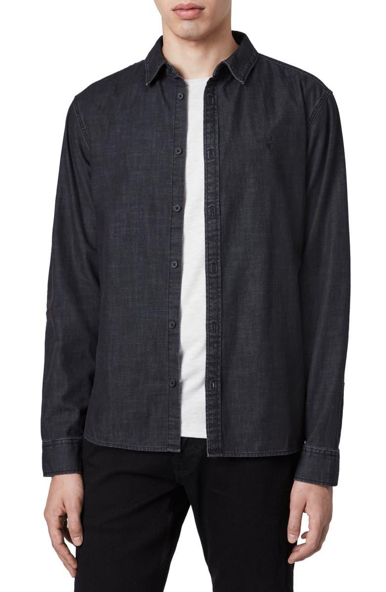 ALLSAINTS Bramston Regular Fit Denim Button-Up Shirt, Main, color, 005