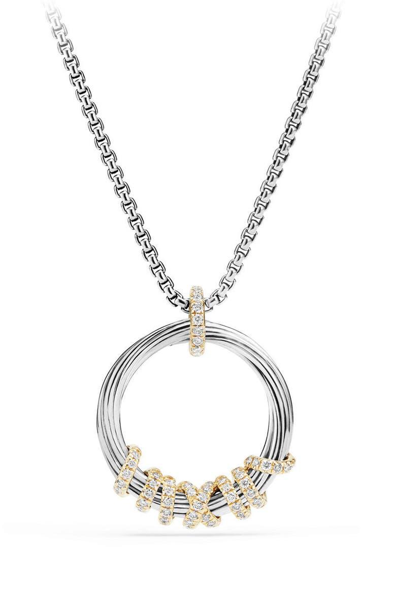 DAVID YURMAN Helena Medium Pendant Necklace with Diamonds & 18K Gold, Main, color, SILVER/ GOLD