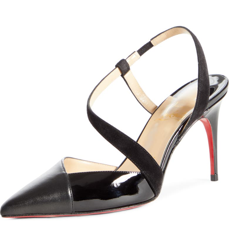 CHRISTIAN LOUBOUTIN Platina Pointy Toe Slingback Pump, Main, color, BLACK