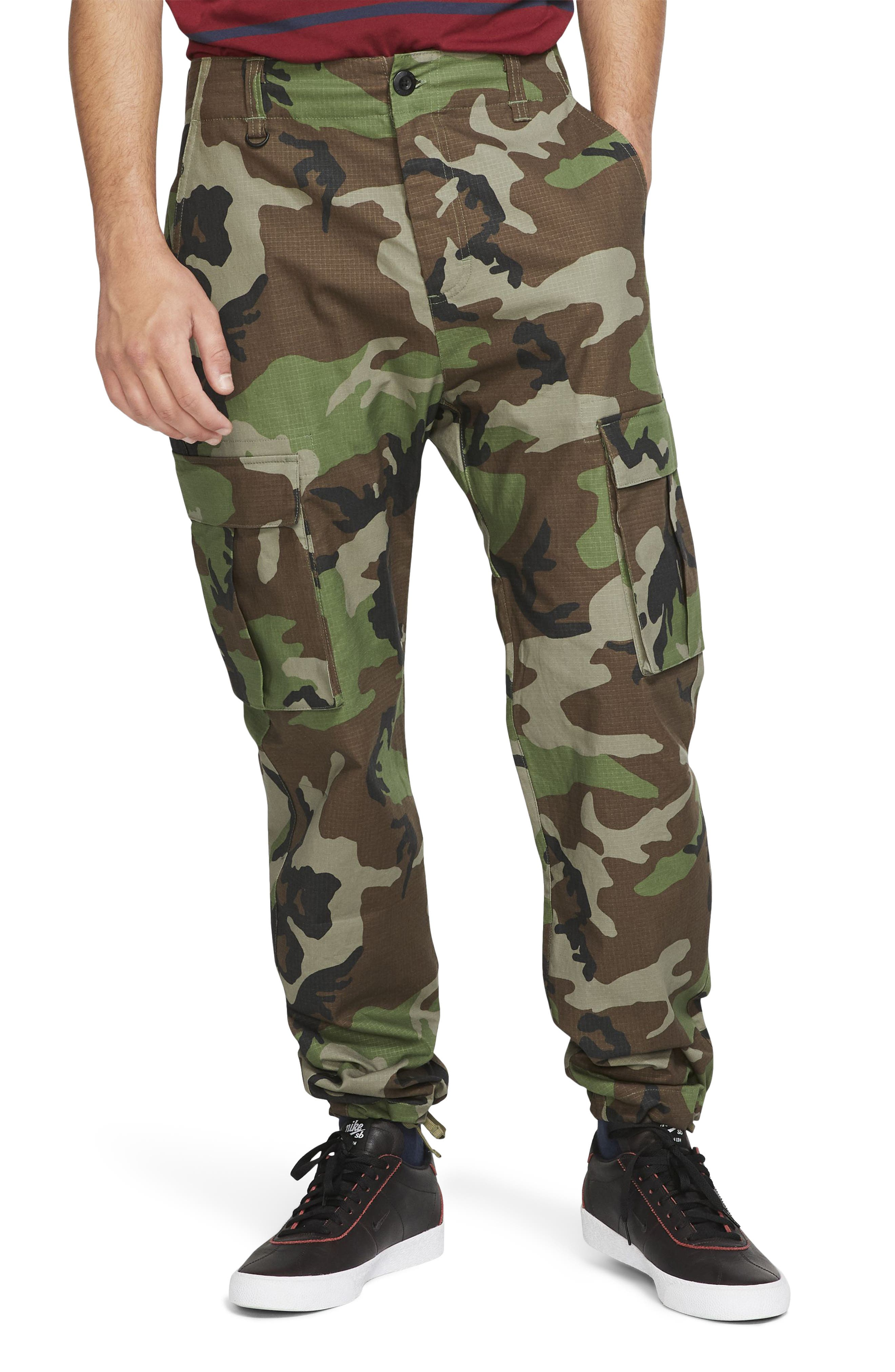 Designed with the rigors in skateboarding in mind, these durable cargo pants sport the comfort of stretchy ripstop fabric plus plenty of secure pockets. A rugged camo print underscores the ready-for-anything vibe. Style Name: Nike Sb Flex Skate Cargo Pants. Style Number: 6010379. Available in stores.