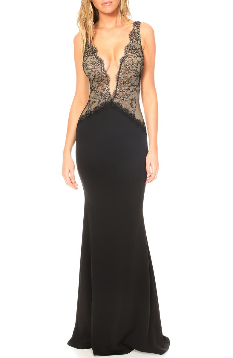KATIE MAY Mesh Bodice Trumpet Gown, Main, color, BLACK