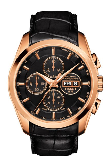 Image of Tissot Men's Couturier Chronograph Auto Croc Embossed Leather Strap Watch, 43mm