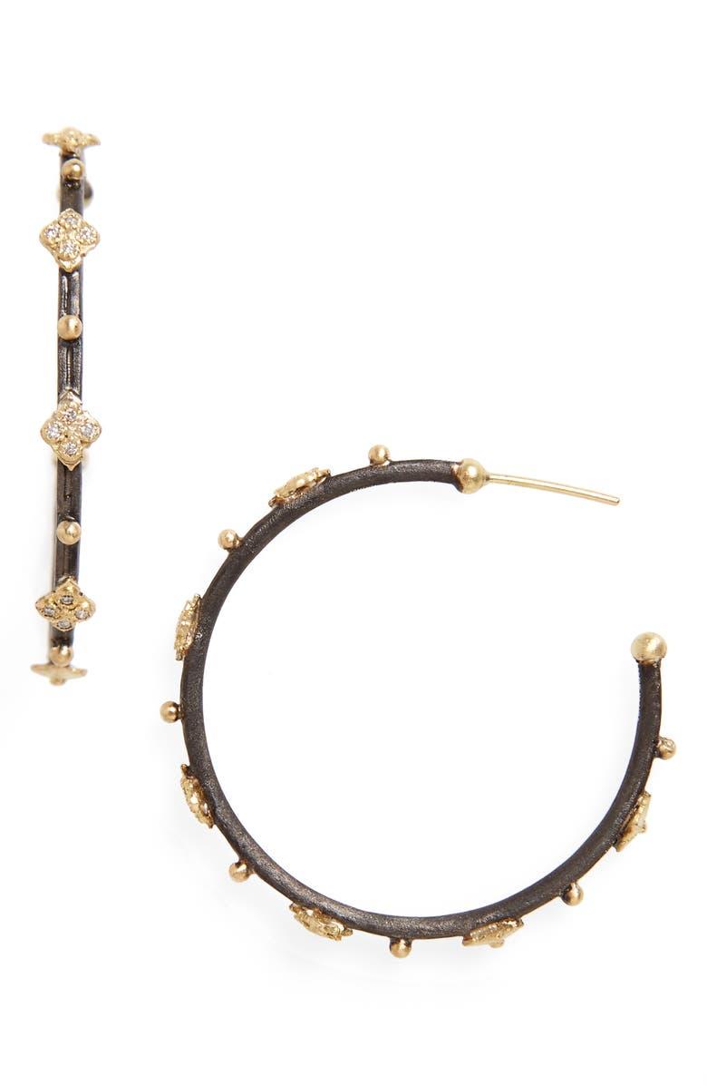 ARMENTA Old World Diamond Hoop Earrings, Main, color, SILVER