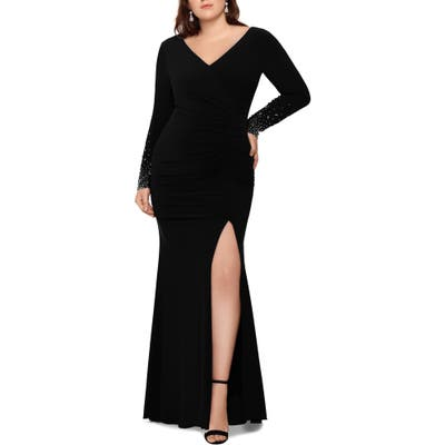Plus Size Xscape Embellished Long Sleeve Ruched Gown, Black