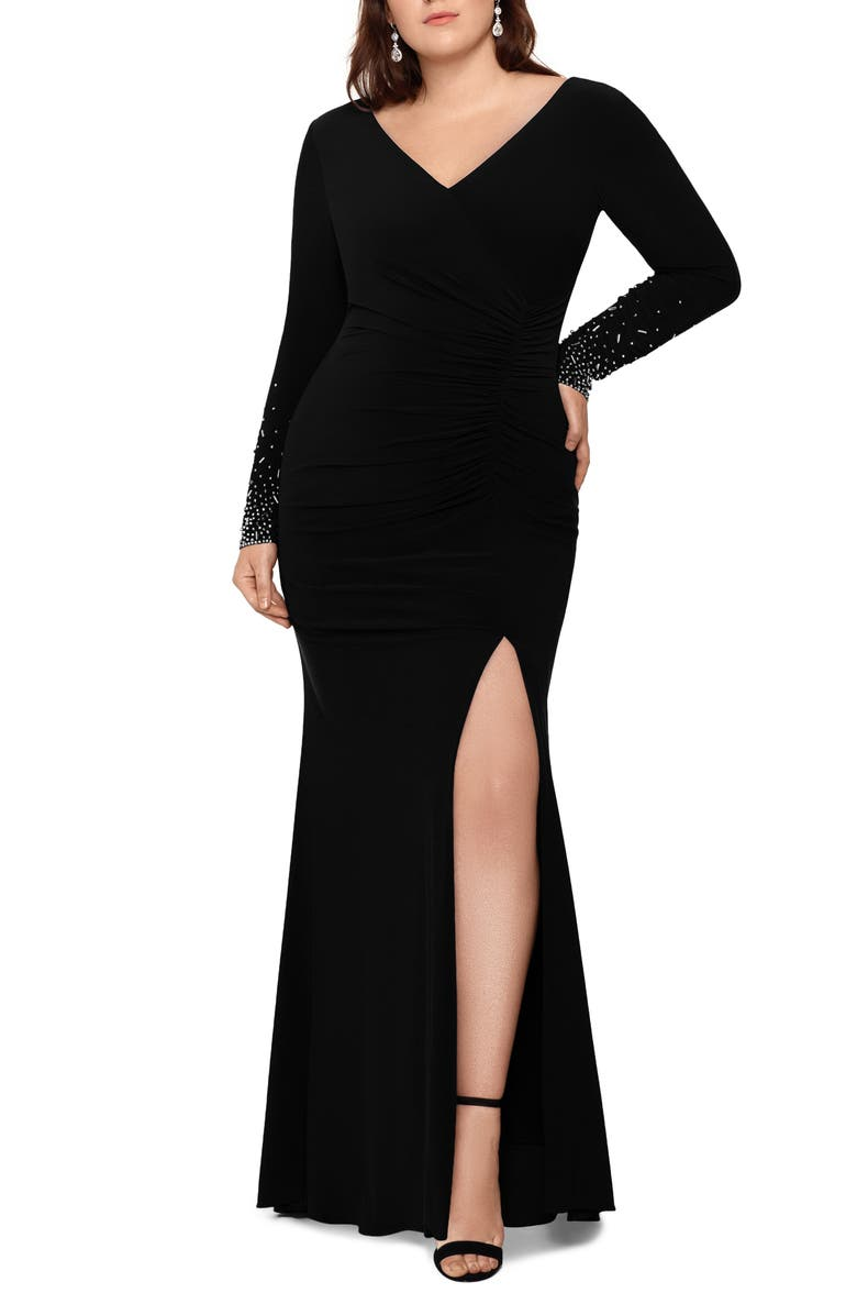 XSCAPE Embellished Long Sleeve Ruched Gown, Main, color, BLACK/ SILVER