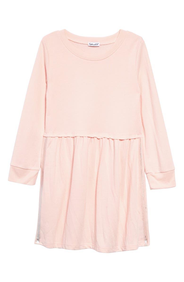 SPLENDID Metallic Stripe Long Sleeve Dress, Main, color, VEIL ROSE