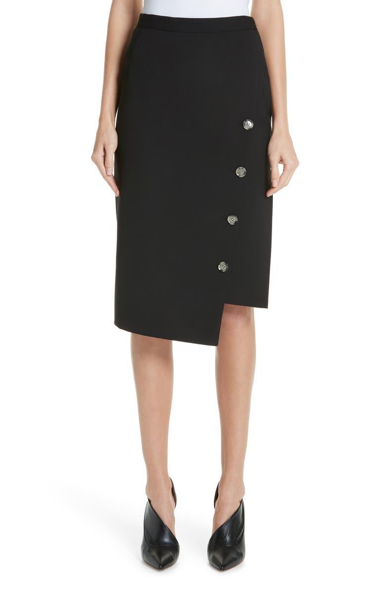 ALTUZARRA Button Detail Slit Stretch Wool Pencil Skirt, Main, color, 001