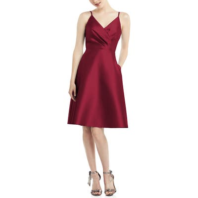 Alfred Sung Fit & Flare Satin Twill Cocktail Dress, Burgundy