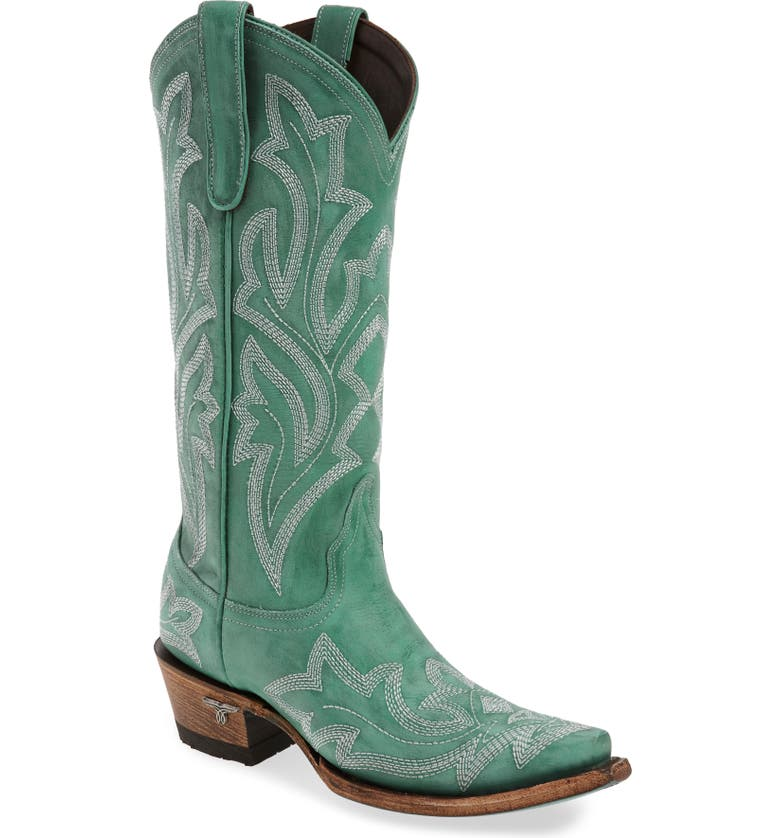 LANE BOOTS Saratoga Western Boot, Main, color, TURQUOISE LEATHER