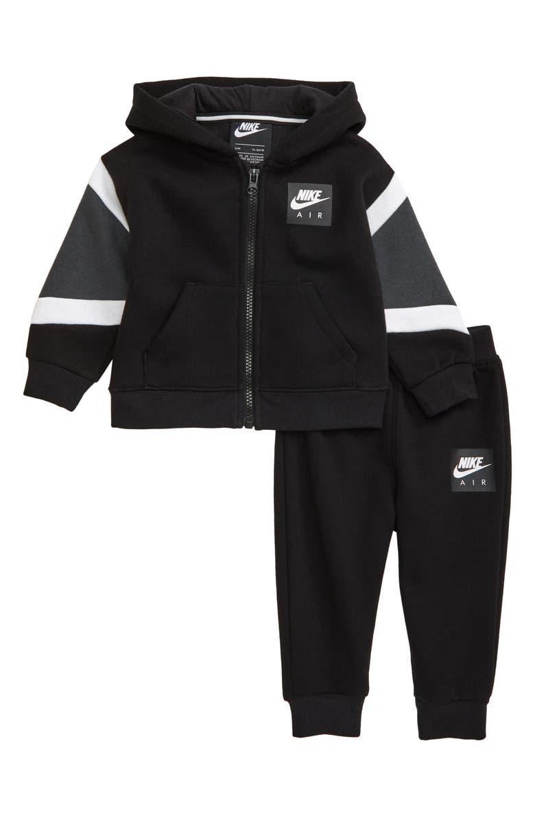 NIKE Air Fleece Zip Hoodie & Sweatpants Set, Main, color, BLACK