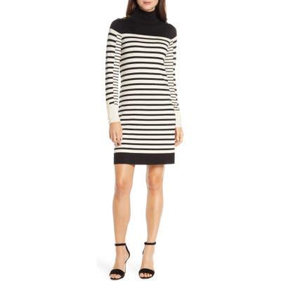 Petite Eliza J Stripe Long Sleeve Turtleneck Sweater Dress, Ivory