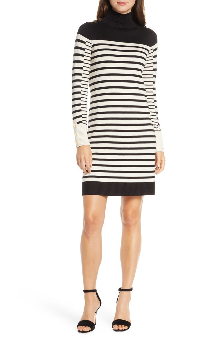 ELIZA J Stripe Long Sleeve Turtleneck Sweater Dress, Main, color, IVORY