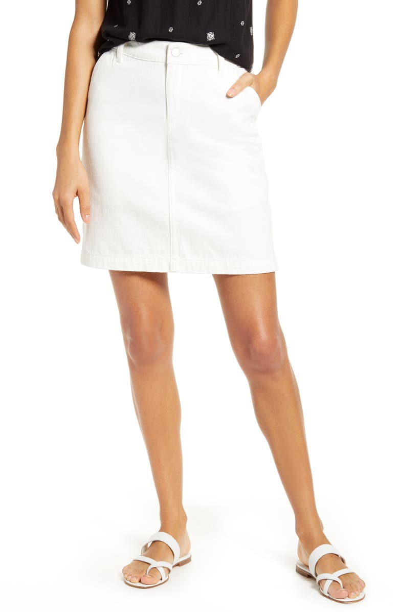 GIBSON x Hi Sugarplum! Positano Denim Skirt, Main, color, WHITE