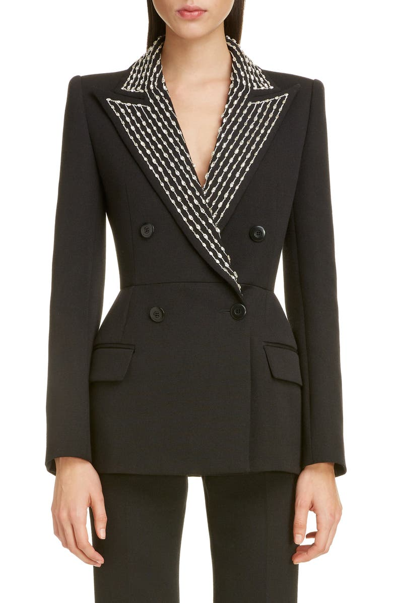 GIVENCHY Embellished Lapel Wool & Silk Jacket, Main, color, BLACK