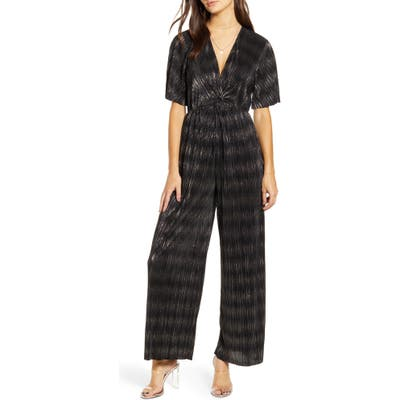 All In Favor Metallic Plisse Jumpsuit, Black