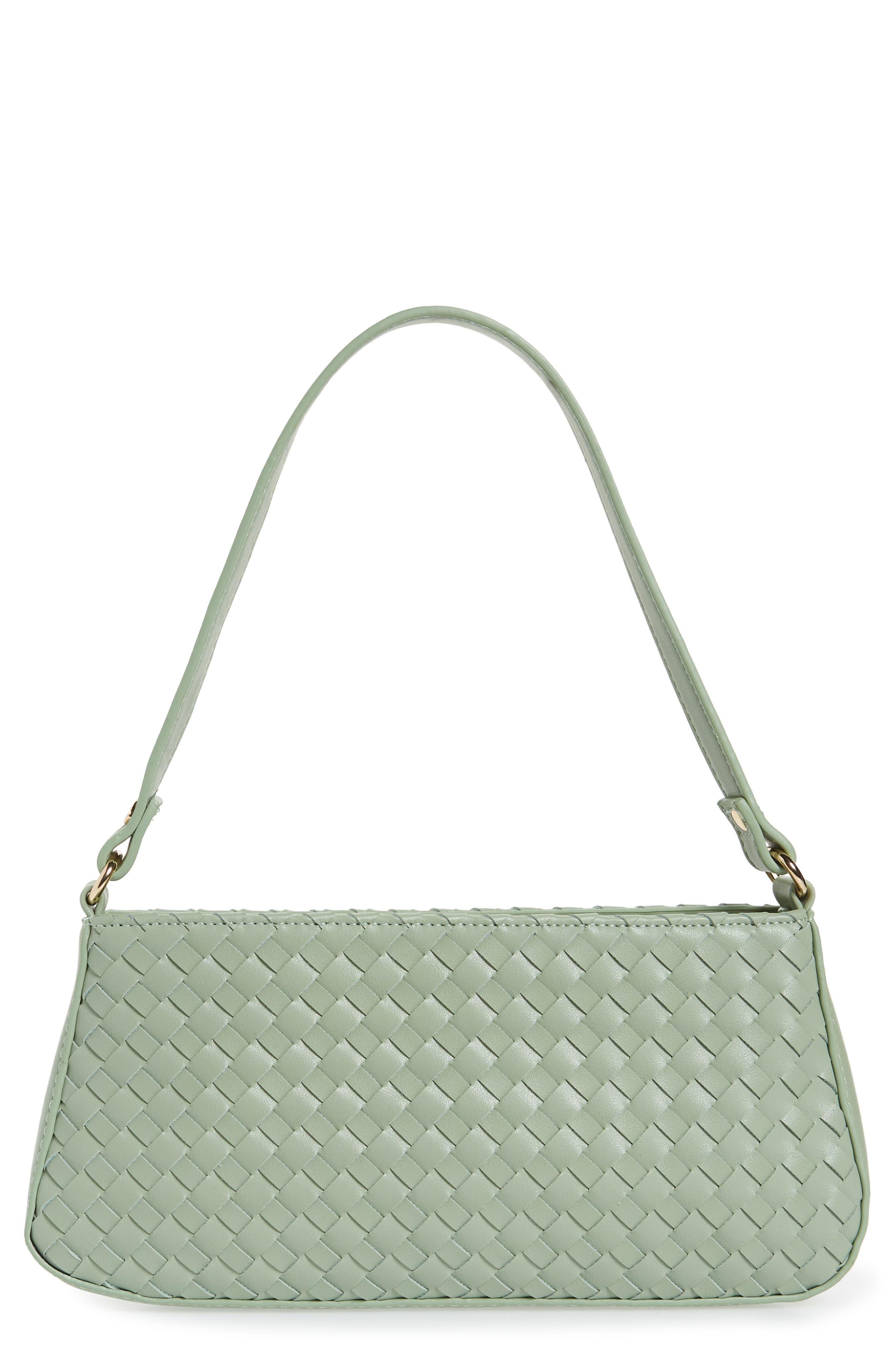 Mali + Lili Woven Vegan Leather Baguette Shoulder Bag