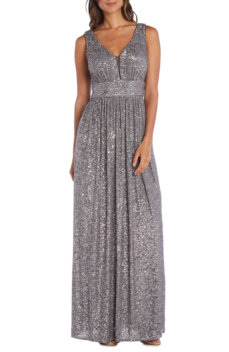 MORGAN & CO. Sequin A-Line Gown, Main, color, PEWTER