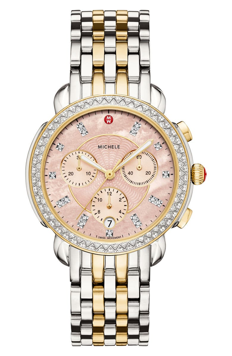 MICHELE Sidney Chrono Diamond Dial Watch Case, 38mm, Main, color, GOLD/ SILVER/ DESERT ROSE MOP