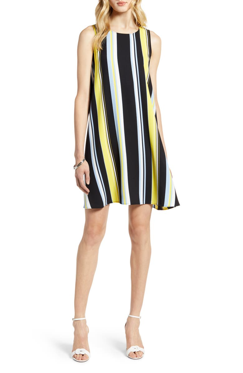HALOGEN<SUP>®</SUP> A-Line Dress, Main, color, BLACK MULTI STRIPE