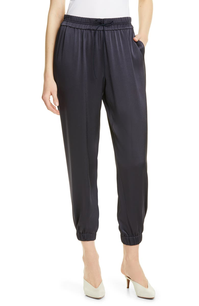 JASON WU Crepe Back Satin Joggers, Main, color, MIDNIGHT