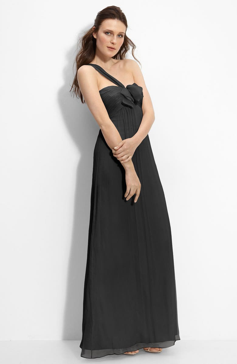 AMSALE Bow Front One Shoulder Chiffon Gown, Main, color, 001