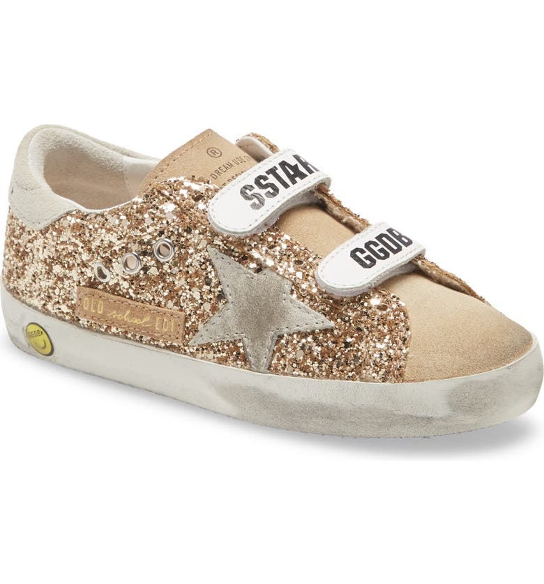 GOLDEN GOOSE Old School Glitter Sneaker, Main, color, GOLD/ CAPPUCCINO/ ICE
