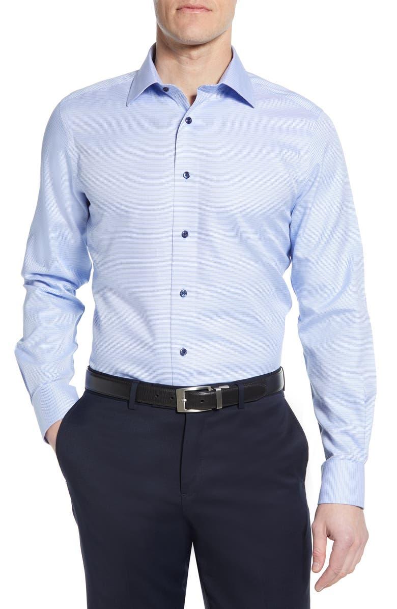 DAVID DONAHUE Luxury Non-Iron Trim Fit Dress Shirt, Main, color, BLUE