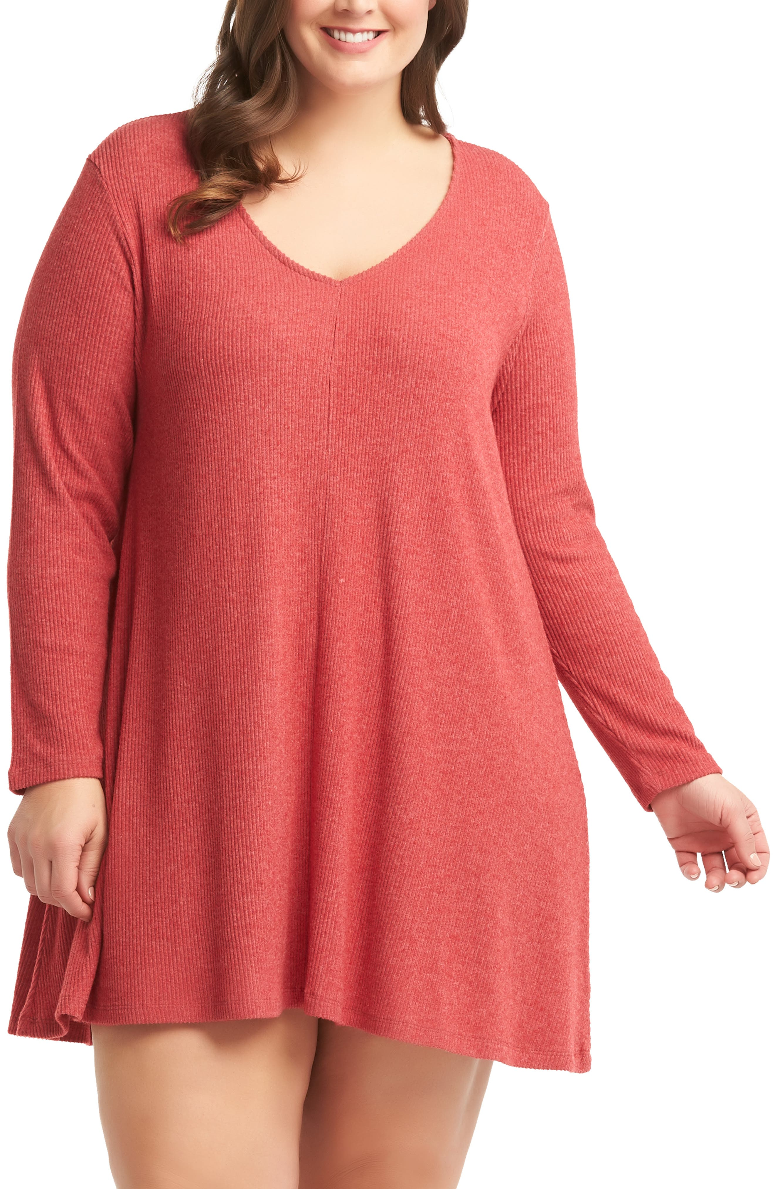 Plus Size Lemon Tart Gina Sweater Minidress, Red
